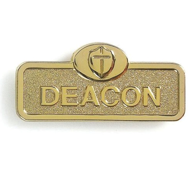 Brass Deacon Badge With Cross (Magnetic Back)
