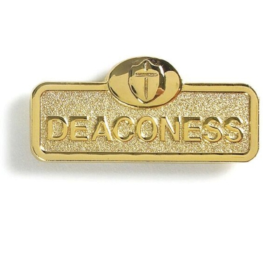 Brass Deaconess Badge With Cross (Magnetic Back)