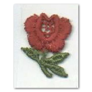 Embroidered Red Rose Visitor Sticker (100 ct)